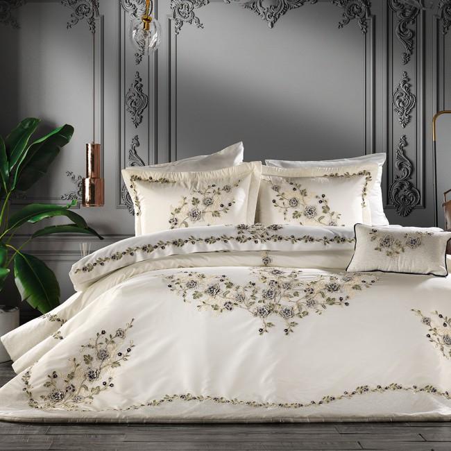 Zebra Casa - Azur Krem Lacivert Yatak Örtüsü