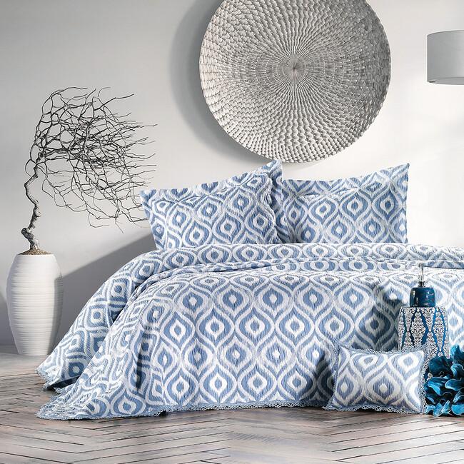 Zebra Casa - Ikat Yatak Örtüsü İndigo