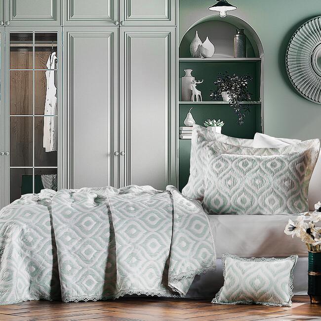 Zebra Casa - Ikat Yatak Örtüsü Yeşil