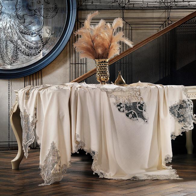 Zebra Casa - Velour Masa Örtüsü Bej